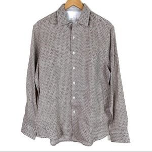 Tasso Elba Print Button Up Long Sleeve Shirt